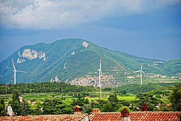Wind turbines near Affi south-east of Lake Garda, Affi, Veneto, Italy, Europe
