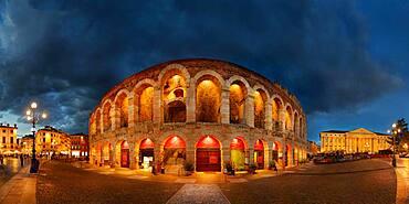 Roman amphitheater Arena di Verona in the evening, Piazza Bra, Verona, Veneto, Italy, Europe