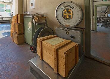 Scales for shipping crates in the valve factory, Industrial Museum, Lauf an der Pegnitz, Middle Franconia, Bavaria, Germany, Europe