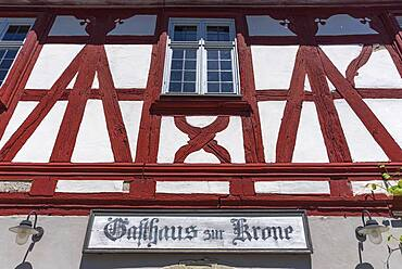 Sign at the historical inn Zur Krone built 1704/05, Franconian Open Air Museum, Bad Windsheim, Middle Franconia, Bavaria, Germany, Europe