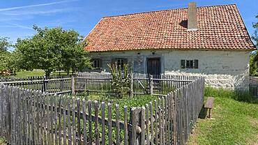 Historic farmhouse with farm garden built 1711, today Franconian Open Air Museum, Bad Windsheim, Middle Franconia, Bavaria, Germany, Europe