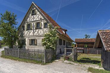 Historic farmhouse with farm garden built in 1711, Franconian Open Air Museum, Bad Windsheim, Middle Franconia, Bavaria, Germany, Europe