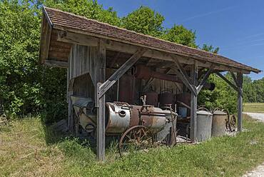 Remise for historical agricultural equipment, Franconian Open Air Museum, Bad Windsheim, Middle Franconia, Bavaria, Germany, Europe