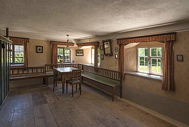 Dining room in a historic farmhouse, Franconian Open Air Museum, Bad Windsheim, Middle Franconia, Bavaria, Germany, Europe