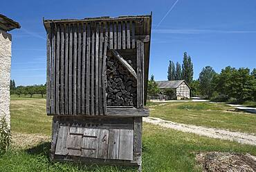 Wooden box for storing firewood, Franconian Open Air Museum, Bad Windsheim, Middle Franconia, Bavaria, Germany, Europe