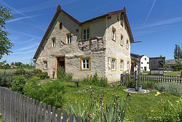 Seldenhaus, small farmstead with garden built 1668 rebuilt 1871, Franconian Open Air Museum, Bad Windsheim, Middle Franconia, Bavaria, Germany, Europe