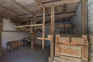 The Kaltmang, 19th century, was driven by animals or humans, used for textile processing, Franconian Open Air Museum, Bad Windsheim, Middle Franconia, Bavaria, Germany, Europe