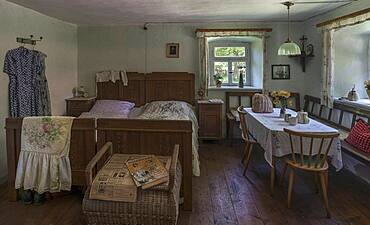 Bedroom around 1955 of a semi-detached house built in 1455, Franconian Open Air Museum, Bad Windsheim, Middle Franconia, Bavaria, Germany, Europe