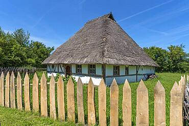 Swedish house, built in 1554, small farmhouse in late medieval architectural style, Franconian Open Air Museum, Bad Windsheim, Middle Franconia, Bavaria, Germany, Europe