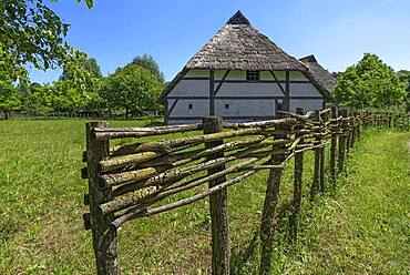 Swedish house built in 1554, small farmhouse in late medieval style, old wicker fence in front, Franconian Open Air Museum, Bad Windsheim, Middle Franconia, Bavaria, Germany, Europe