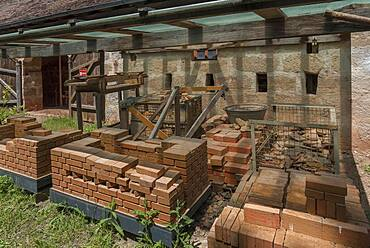 Storage of fired bricks from the historical kiln, Franconian Open Air Museum, Bad Windsheim, Middle Franconia, Bavaria, Germanyd