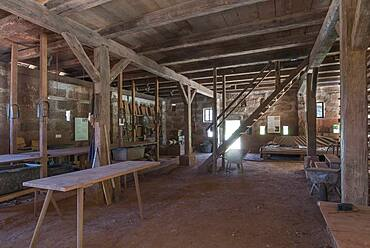Brickworks, 1835, for historical brick production, replica in the Franconian Open Air Museum, Bad Windsheim, Middle Franconia, Bavaria, Germanyd