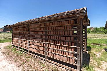 Drying racks of the finished bricks, produced in the brickworks, 19th century, Franconian Open Air Museum, Bad Windsheim, Middle Franconia, Bavaria, Germanyd