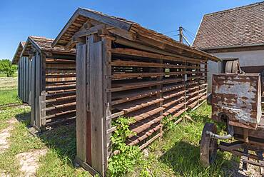 Drying racks of the finished roof tiles, produced in the brickworks, 19th century, Franconian Open Air Museum, Bad Windsheim, Middle Franconia, Bavaria, Germanyd