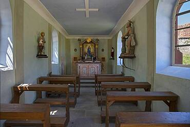 Interior of the chapel from 1861, Franconian Open Air Museum, Bad Windsheim, Middle Franconia, Bavaria, Germany, Europe