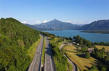 Drone image, Westautobahn (A1) near Mondsee, Mondsee with Schafberg, Salzkammergut, Upper Austria, Austria, Europe