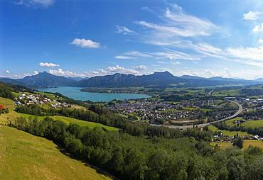 Drone shot, panorama, Mondseeland, Mondsee, Salzkammergut, Upper Austria, Austria, Europe