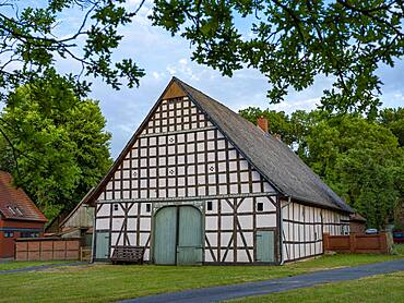 Half-timbered house in the Rundlingsdorf Luebeln, Luechow-Dannenberg district, Wendland, Lower Saxony, Germany, Europe
