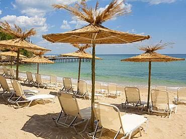 Umbrellas on the beach, St. Constantine and Helena resort, Varna province, Bulgaria, Europe