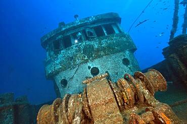 Ship bridge of a shipwreck, East Atlantic, Tenerife, Canary Islands, Spain, Europe