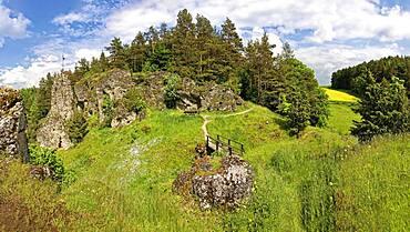 Franconian rock landscape with hiking trail, on the left rock tower Himmelsstaeuberer, Upper Franconia, Bavaria, Germany, Europe