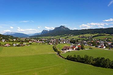 Drone shot, Thalgau, Flachgau, Land Salzburg, Austria, Europe