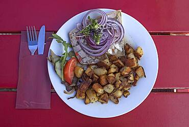 Brawn served with fried potatoes in a garden restaurant, Bavaria, Germany, Europe