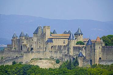 Medieval old town, Cite de Carcassonne fortress, UNESCO World Heritage Site, seen from the Belvedere d'Auriac rest area on the A61 motorway, Aude department, Occitanie region, southern France, France, Europe
