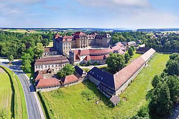 Aerial view, Weissenstein Castle, foundation building Franconian Baroque, built 1711-1718, district of Pommersfelden, Upper Franconia, Bavaria, Germany, Europe