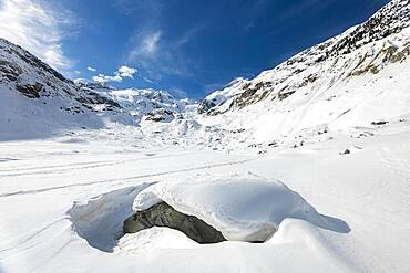 Snow-covered glacier, Morteratsch glacier, Bernina Group, Engadine, Grisons, Switzerland, Europe