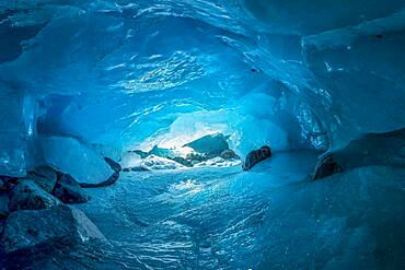 Glacier cave, ice cave, Morteratsch glacier, Engadine, Grisons, Switzerland, Europe
