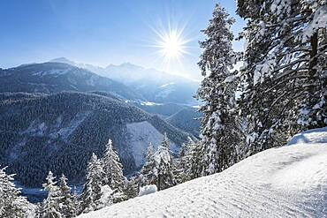 Ruinaulta or Rhine Gorge, winter landscape, Anterior Rhine, Flims, Canton Graubuenden, Switzerland, Europe