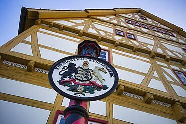 Coat of arms of the Kingdom of Wuerttemberg in front of Haus der Stadtgeschichte, Waiblingen, Baden-Wuerttemberg, Germany, Europe