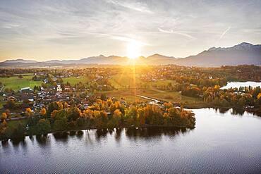 Seehausen am Staffelsee, sunrise in autumn, drone shot, alpine foothills, Upper Bavaria, Bavaria, Germany, Europe
