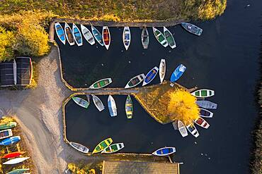 Rowing boats in the harbour from above, Seehausen am Staffelsee, morning light in autumn, drone shot, alpine foreland, Upper Bavaria, Bavaria, Germany, Europe