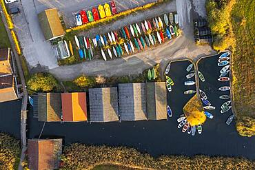 Boats and boathouses in the harbour from above, Seehausen am Staffelsee, morning light in autumn, drone shot, alpine foreland, Upper Bavaria, Bavaria, Germany, Europe