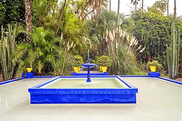 Marrakech, Morocco, January 15, 2020:Beautiful fountain in Majorelle Garden established by Yves Saint Laurent, Africa