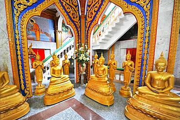 Gilded Buddha statues, Buddhist temple Wat Chalong, Phuket, Thailand, Asia