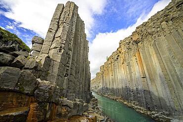 Basalt columns in Stuolagil Canyon, Egilsstaoir, Austurland, Iceland, Europe
