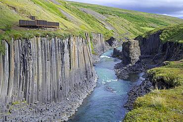 Stuolagil Canyon and viewing platform, Egilsstaoir, Austurland, Iceland, Europe