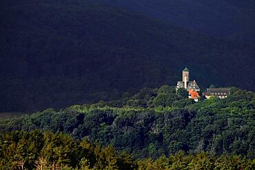View from Bornhagen to Ludwigstein Castle in the Werra-Meissner district in Hesse, late medieval castle surrounded by forests of the Werra Mountains, Green Belt, border path, inner-German border, Bornhagen, Eichsfeld district, Thuringia, Germany, Europe
