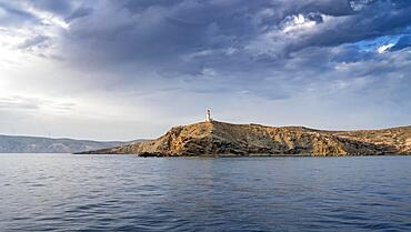 Prasonisi lighthouse in evening light, dramatic cloudy sky, Rhodes, Dodecanese, Greece, Europe