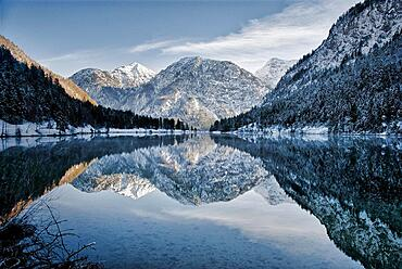 Sunset from lake in winter, Plansee, Tyrol, Austria, Europe