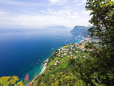 View of the coast and Marina Grande, Capri, Gulf of Naples, Campania, Italy, Europe