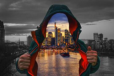 Transparent man with open jacket, Frankfurt skyline in the background