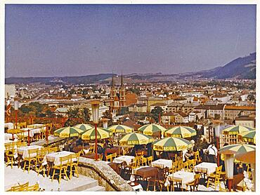 Salzburg in 1959: View of the city from the Grand Cafe Winkler. former terrace cafe on the Moenchsberg in the old town of Salzburg. Today it houses the Moenchsberg Museum of Modern Art and the M32 restaurant. Austria