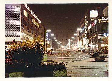 Stuttgart at night in 1963: Untere Koenigsstrasse with illuminated advertising, tram tracks, Baden-Wuerttemberg, Germany, Europe