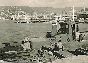 Port of Trieste, Trieste, Regione Autonoma Friuli Venezia Giulia, historical photo from 1961, Italy, Europe