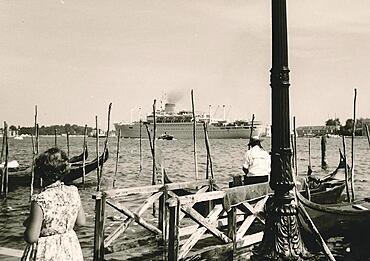 View of a cruise ship from the Riva degli Schiavoni, Venezia, Venice, historical photo from 1960, Italy, Europe