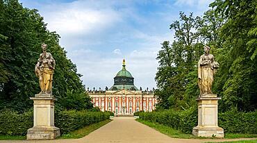 New Palace in Sanssouci Palace Park in Potsdam, Potsdam, Brandenburg, Germany, Europe